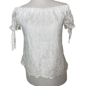 Society Girl white lace top off the shoulders sm